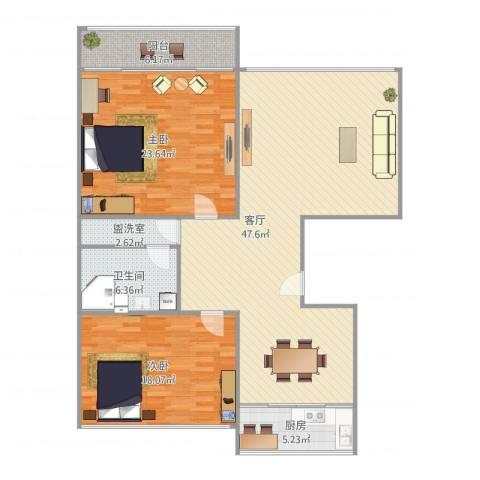 白鹤花苑2室2厅1卫1厨146.00㎡户型图