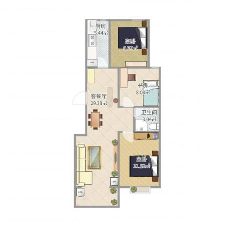 领南庄园3室1厅1卫1厨90.00㎡户型图