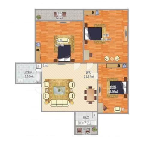 工人新村3室1厅1卫1厨175.00㎡户型图
