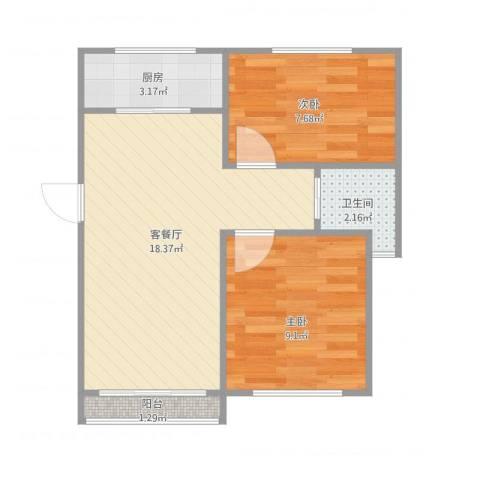 淞泽家园2室1厅1卫1厨57.00㎡户型图