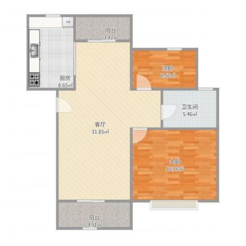 好日子大家园D区2室1厅1卫1厨103.00㎡户型图