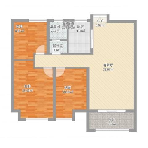 大川世纪城3室2厅1卫1厨118.00㎡户型图