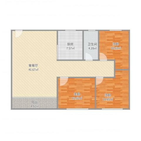 盈翠华苑3室1厅1卫1厨125.00㎡户型图
