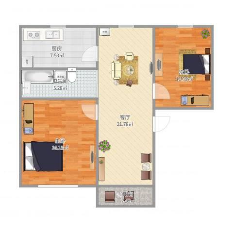 贝港南区2室1厅1卫1厨87.00㎡户型图
