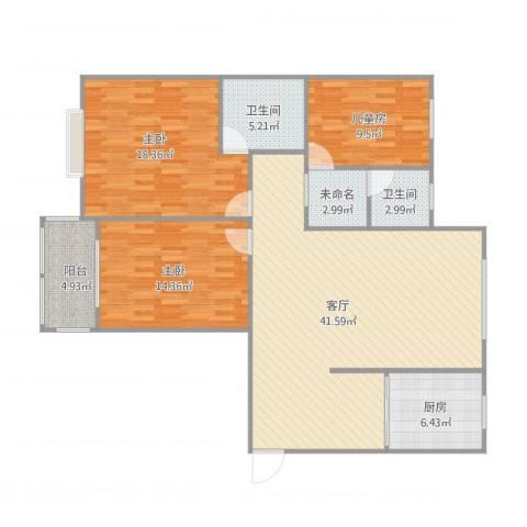林州香格里拉3室1厅2卫1厨140.00㎡户型图