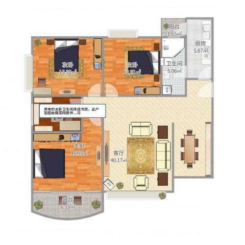 枫丹雅筑1608户型图4室1厅1卫1厨148.00㎡户型图