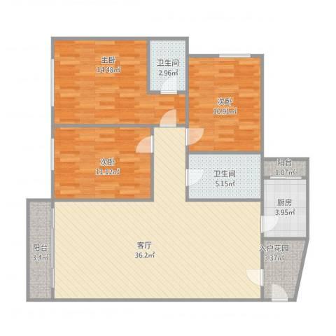廊桥名轩1+15023室1厅2卫1厨125.00㎡户型图