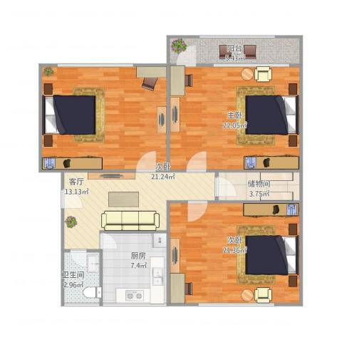 无影山新村3室1厅1卫1厨130.00㎡户型图