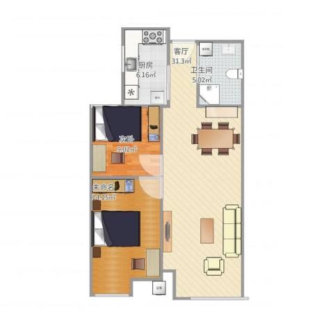 融创洞庭路壹号1室1厅1卫1厨88.00㎡户型图