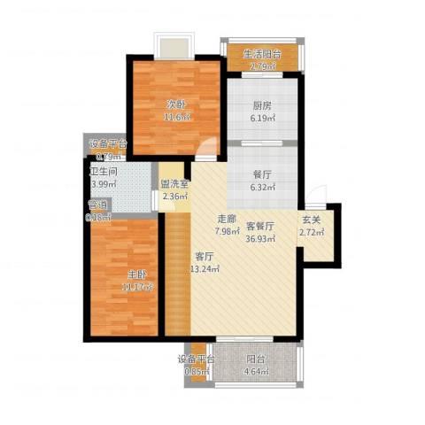 证大家园三期2室1厅1卫1厨115.00㎡户型图