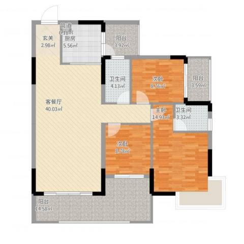 翁江新城3室1厅2卫1厨151.00㎡户型图