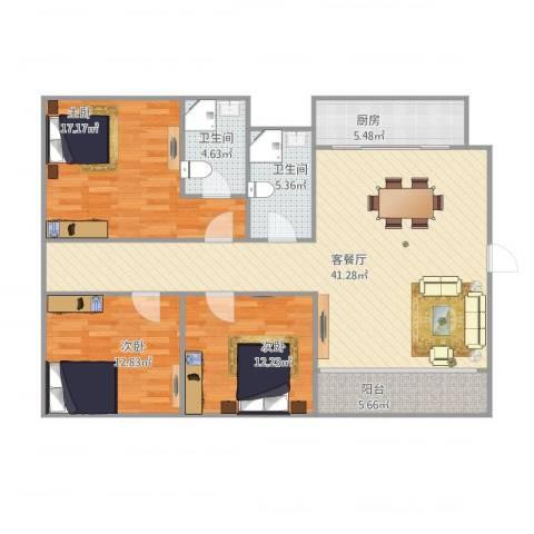 顺景蔷薇山庄3室1厅2卫1厨140.00㎡户型图