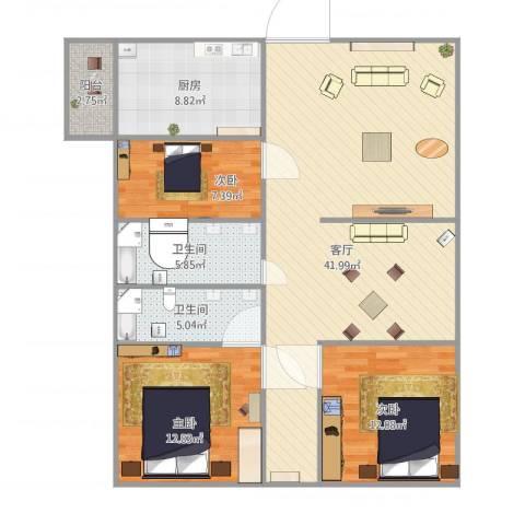 海景大厦3室1厅2卫1厨130.00㎡户型图