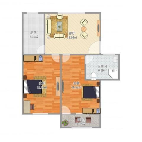 芳雅苑2室1厅1卫1厨94.00㎡户型图