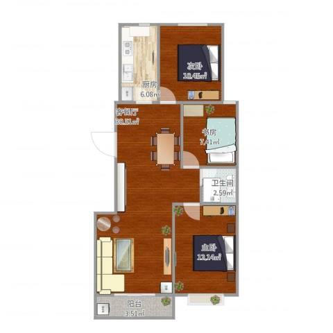 领南庄园3室1厅1卫1厨98.00㎡户型图