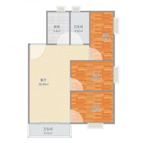 天一新村3室1厅2卫1厨100.00㎡户型图