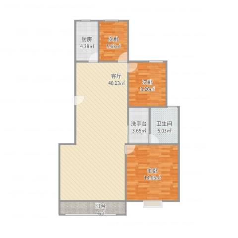 曹路家苑3室1厅1卫1厨115.00㎡户型图