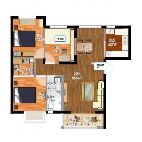 名品建筑3室2厅1卫1厨106.00㎡户型图