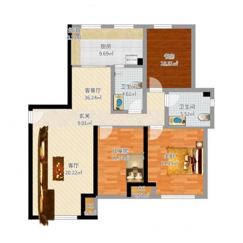 金地西沣公元3室1厅2卫1厨135.00㎡户型图