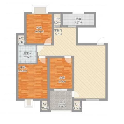 天泰茗仕豪庭3室1厅5卫1厨128.00㎡户型图