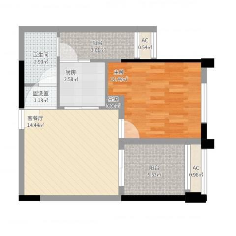 金科蚂蚁SOHO1室2厅1卫1厨65.00㎡户型图