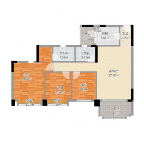 金华花园3室1厅2卫1厨132.00㎡户型图
