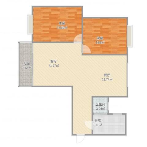 名汇大厦2室1厅1卫1厨109.00㎡户型图