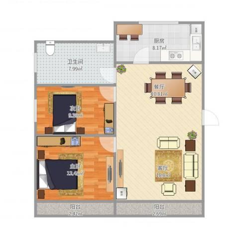 龙沟新苑2室1厅1卫1厨98.00㎡户型图