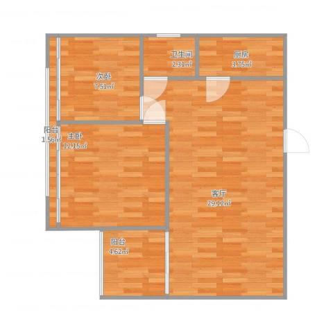 苹果园2室1厅1卫1厨83.00㎡户型图