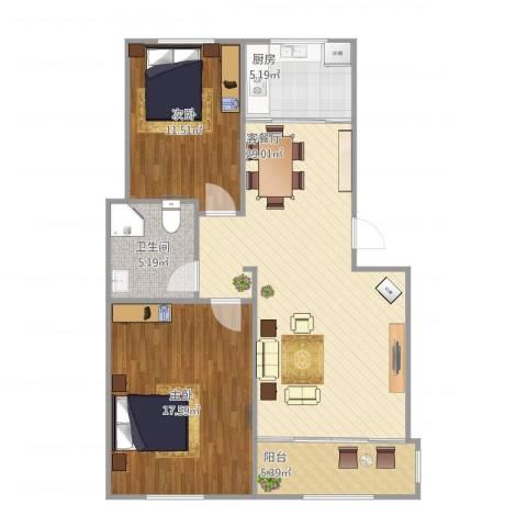 钻石湾2室1厅1卫1厨99.00㎡户型图
