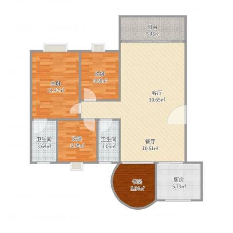 丽日玫瑰4室1厅2卫1厨106.00㎡户型图