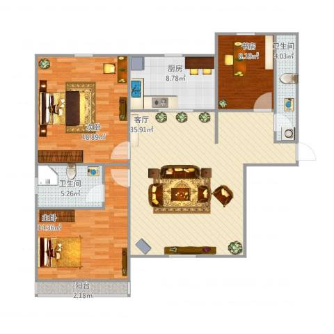 民旺园3室1厅2卫1厨131.00㎡户型图