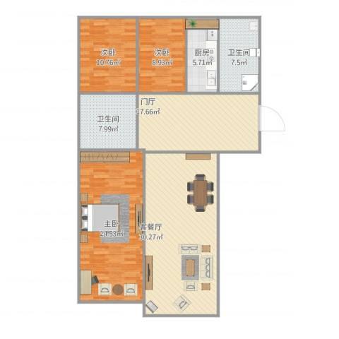 小平岛E组团3室1厅2卫1厨151.00㎡户型图