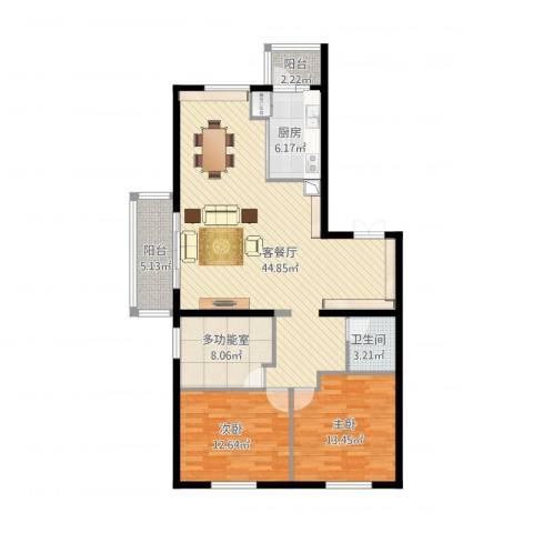 锦湖・金色世家2室1厅1卫1厨135.00㎡户型图