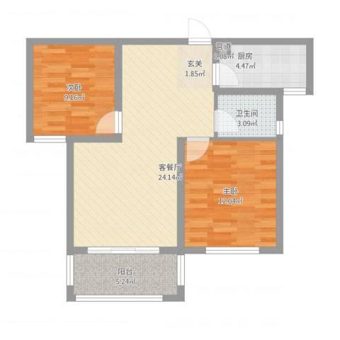 和平国际2室1厅1卫1厨84.00㎡户型图