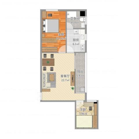 金亿皮具城2室1厅1卫1厨85.00㎡户型图