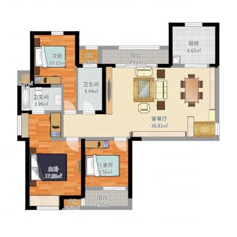 金地格林东郡3室1厅2卫1厨129.00㎡户型图