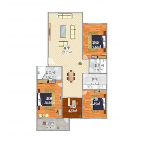 桃花园4室1厅2卫1厨185.00㎡户型图