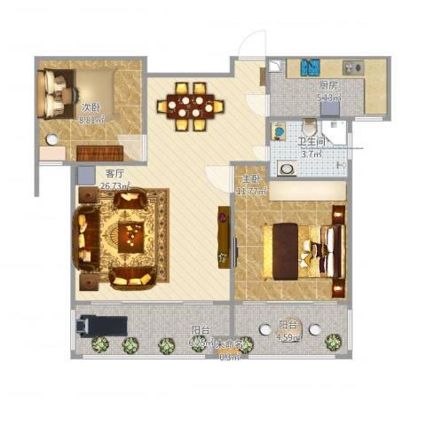 奥体清华苑2室1厅1卫1厨92.00㎡户型图