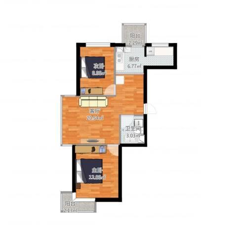 浑河湾2室1厅1卫1厨80.00㎡户型图