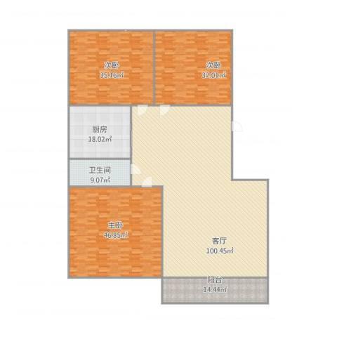 豪门又一城3室1厅1卫1厨333.00㎡户型图