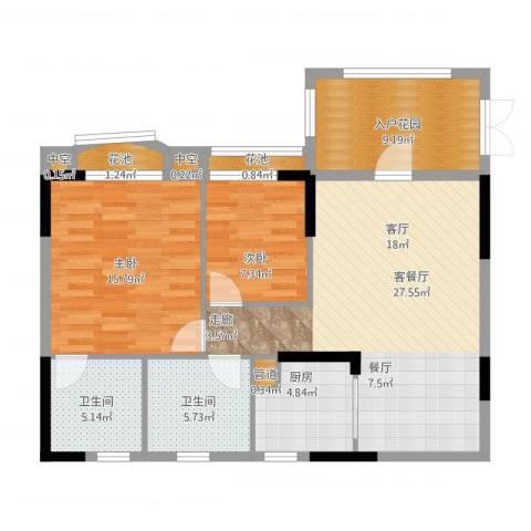 金海岸花园・聚湖2室1厅2卫1厨112.00㎡户型图