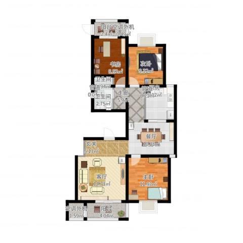 加州壹号3室1厅2卫1厨124.00㎡户型图