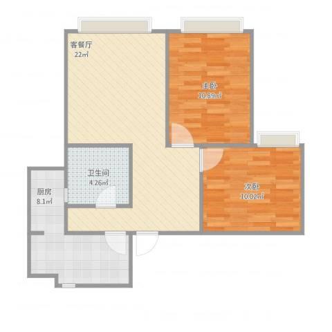 望龙东郡唐姐2室1厅1卫1厨75.00㎡户型图