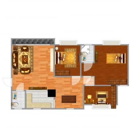 信成小区3室1厅2卫1厨97.00㎡户型图