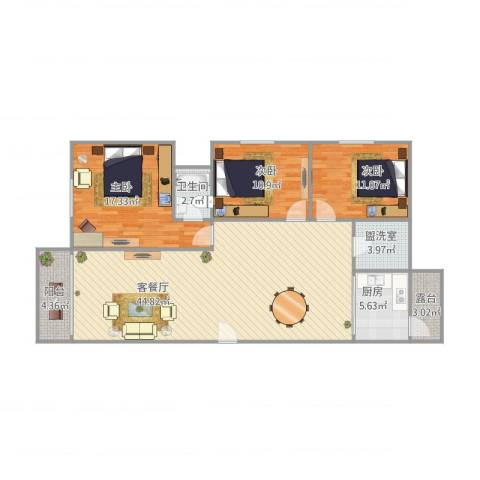 顺景蔷薇山庄107㎡01户型3室2厅1卫1厨139.00㎡户型图