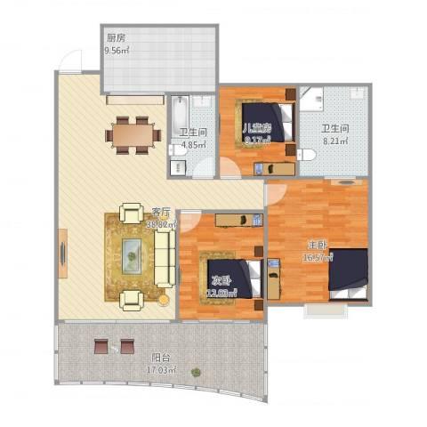 佳怡梧桐居3室1厅2卫1厨155.00㎡户型图