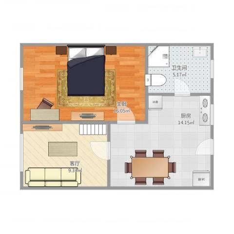 临沂一村72号603室1室1厅1卫1厨60.00㎡户型图