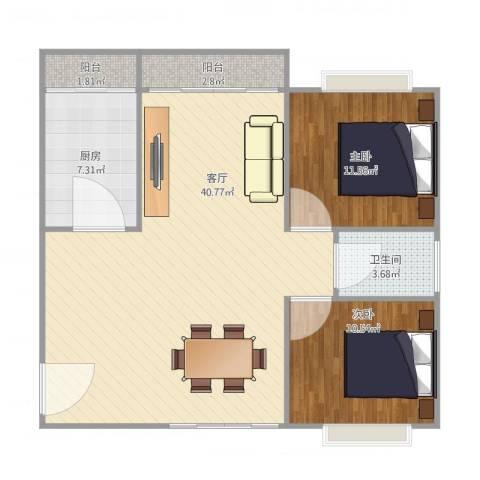 汇星豪庭2室1厅1卫1厨105.00㎡户型图