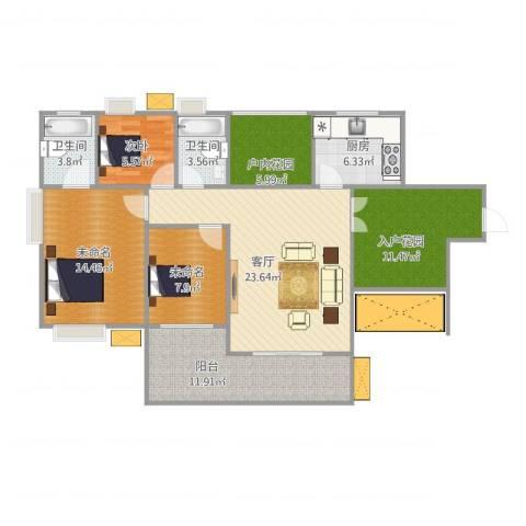 鑫月城1室1厅2卫1厨128.00㎡户型图